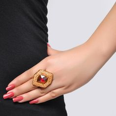 Buy Styonal Golden & Red Stone Studded Ring Online in India @ UrbanTouch.com