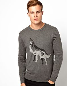 Selected Wolf Knit Crew Neck Jumper