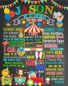 Chalkboard first birthday poster sign milestone photo circus boy girl
