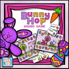 FREE!  Bunny Hop Reading Board Game (PreK-K) from TeacherTam on TeachersNotebook.com -  - FREE!  I love to use reading games in my classroom. They are a great way to practice merging sounds to read CVC words, sight word recognition, and fluency. Students have so much fun, they forget that they are learning!  This set comes with 2 sets of cards