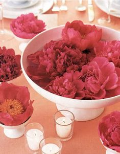 Simple #centerpiece with #peonies
