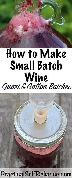 How to Make Small Batch Wine - recipes - Wein Grape Wine Recipe, Homemade Wine Recipes, Homemade Liquor, Homemade Alcohol, Drink Recipes, Wine Wednesday, Wine Fridge, Wine Refrigerator, Fermented Foods