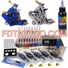 2 Tattoo Machines Kit with 40 Colors for Lining and Shading - Focus Vogue Tattoo Kits For Sale, Beginner Tattoo Kit, Professional Tattoo Kits, Tattoo Practice Skin, Tattoo Machine Kits, X Tattoo, Tattoo Equipment, Black Ink Tattoos, Bahama Blue