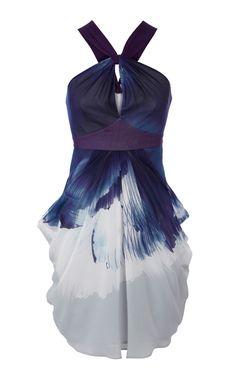Karen Millen Floral print draped dress blue [#KMM022] - $90.15 :
