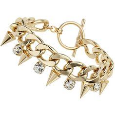 Miss Selfridge Chunky Spike Bracelet ($15) ❤ liked on Polyvore featuring jewelry, bracelets, accessories, pulseiras, gold, gold tone jewelry, spike bangle, chunk jewelry, miss selfridge and chunky jewelry