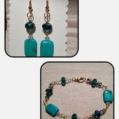 Turquoise & gold plated design bracelet with matching earrings.