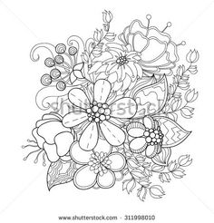 Doodle art flowers. Zentangle floral pattern. Hand-drawn herbal design elements.