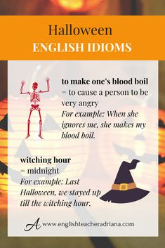 Learn how to speak about Halloween in English using these English words. Click the link below to watch the full video lesson English Idioms, English Vocabulary Words, English Phrases, English Words, English Lessons, English Grammar, English Teaching Resources, English Language Learning, Education English