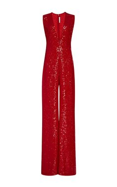281f48dd72e Allover Sequin V-Front Jumpsuit by Naeem Khan for Preorder on Moda Operandi  Gold Jumpsuit