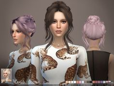 This hair style has 18 kinds of color  Found in TSR Category 'Sims 4 Female Hairstyles'