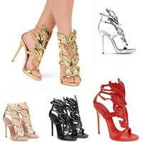 Wish | Women Fashion Elegant Four-color Flame Leaves High-heeled Sandals Wings Shoes size:EU35-EU42