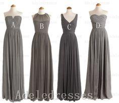 Custom Made Bridesmaid Dress,Gray Bridesmaid Dress,Long Bridesmaid Dresses,A Line Cheap Bridesmaid Dress,Simple Prom Dress,Graduation Dress