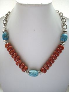 Chunky Rust and Tan Bead Necklace with Chunky Blue Tan White Jasper Nuggets Antique Silver Beads and Chunky Silver Chain by DesignsbyPattiLynn on Etsy