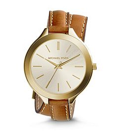 Double your wrist's chic factor with the easy, elegant Slim Runway watch. In gold-tone stainless steel and stitched leather, this watch offers up a fresh take on a true classic: the buckled bracelet wraps twice, giving you a layered look that reads cool and au courant. A sleek, rounded face completes the understated design. Wear this piece on its own, or mix it with delicate gold pieces for a stylishly stacked wrist.