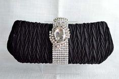 6540010c4fb1d Black Hard Sided Evening Clutch Bag with Crystal Rhinestone Brooch (Sparkle -1301)
