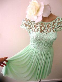 Mint Green Crochet Daisy Lace Mini Cap Sleeve Cocktail Dress Vintage   eBay