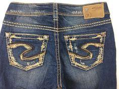 NEW Sale Women Silver High Rise Suki Embellished Skinny Stretch Jean 28 x 29 #SilverJeans #SlimSkinny