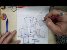 learn to draw Architectural Sketching in a perspective. Intersection of figures … – Art Drawing Tips Architecture Portfolio Template, Architecture Drawing Sketchbooks, Conceptual Architecture, Architecture Concept Drawings, Architecture Collage, Architecture Graphics, Architecture Design, Drawing For Beginners, Drawing Tips