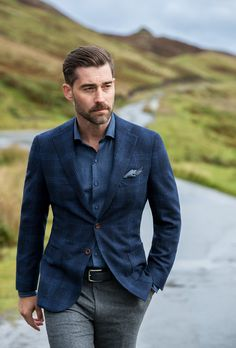 Slate blues, cool greys, and greens inspired by the colors of northern Scotland, featuring all-new custom shirts and jackets. Blazer Suit, Suit Jacket, Mustache Styles, Skye Scotland, Well Dressed Men, Chris Brown, Hades, Moustache, Gorgeous Men