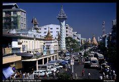 Mahabandoola Lan and the Sule Paya. Yangon, Myanmar