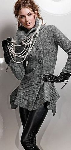 Love this sweater!  Already sassed up in grey and black, those long, multi strand pearls add a touch of class.