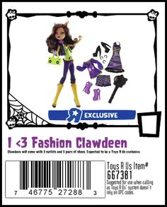 I ♥ Fashion Scarah Screams. The second set of Toys R Us exclusive fashion dolls that come with 3 outfits and 3 pairs of shoes.