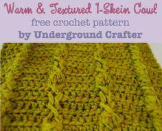 Warm and Textured 1-Skein Cowl, free #crochet pattern by Marie Segares/Underground Crafter