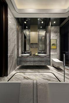 Dark bathroom.