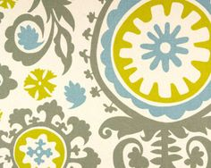 Drapery-Upholstery-Fabric-100-Cotton-Retro-Print-Gray-Blue-Gold-on-White