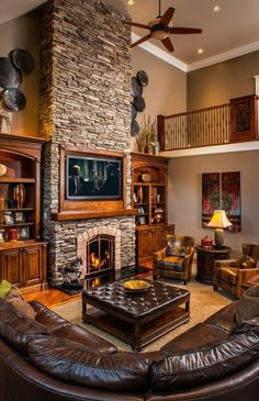 Family Room: leather, stone, wood, loft, fireplace
