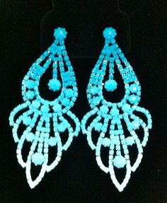 Hand Painted Ombre Rhinestone Earrings. $45.00, via Etsy. ELMELM