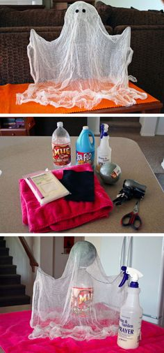 Floating Ghost made from Cheese Cloth | Click Pic for 22 DIY Halloween Party Ideas for Kids | Easy Halloween Party Decor Ideas for Kids to Make