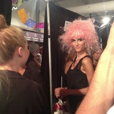It's hard not to smile...backstage at Betsey Johnson!