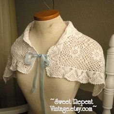 Vintage Crochet Shrug Wrap Capelet White Handmade Victorian Romantic