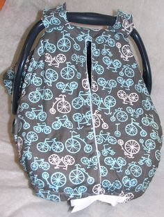 ~Bicycle Fabric Carseat Cover w/Dot Minky interior~ Cool alternative to using a blanket to cover a carseat:)