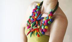 OOAK Felt necklace floral necklace felt ball necklace by elifus, $71.00