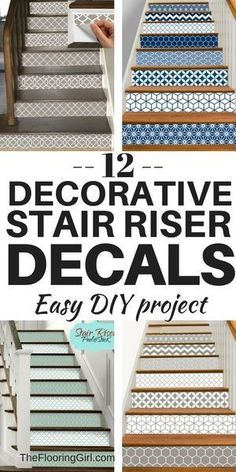 Decorative stair riser decals - removable vinyl and easy DIY projects   staircase makeovers   #stairs #removable #decals #staircase #hacks