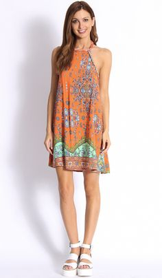 Collections A-Line Dress in Orange $39.99 Click>www.popcherry.com.au/new-arrivals