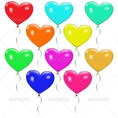 Set of Colorful Balloons in the Form of Hearts