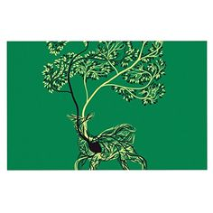 KESS InHouse Tobe Fonseca 'Nectar' Green Deer Dog Place Mat, 13' x 18' ** Check out this great image  (This is an amazon affiliate link. I may earn commission from it)