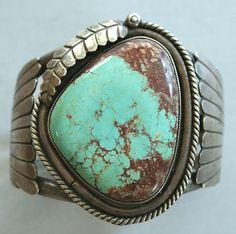 Vintage Navajo Sterling Silver Huge Kings Manassa Turquoise Cuff Bracelet
