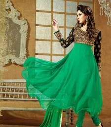 Buy Ladies Latest Fashion – Frock Style Green Anarkali Suit semi-stitched-salwar-suit online