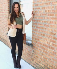 OOTD | Green Crop Top w/ Fur Vest