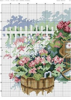 gallery.ru watch?ph=164-fY9Mz&subpanel=zoom&zoom=8 Cross Stitch House, Cross Stitch Kitchen, Cross Stitch Tree, Cross Stitch Flowers, Counted Cross Stitch Patterns, Cross Stitch Designs, Cross Stitch Geometric, Flower Cart, Garden Whimsy