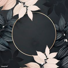 Round golden foliage frame on black background vector Wallpapers Ipad, Phone Wallpaper Images, Framed Wallpaper, Graphic Wallpaper, Cute Wallpaper Backgrounds, Flower Backgrounds, Flower Wallpaper, Black Backgrounds, Backgrounds Free