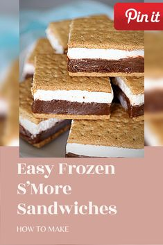 Easy Frozen S'More Sandwiches Salami Sandwich, Hummus Sandwich, Croissant Sandwich, Grill Sandwich, Gourmet Sandwiches, Reuben Sandwich, Party Sandwiches, Bagels Sandwich, Mozzarella Sandwich