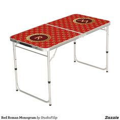 Red Roman Monogram Pong Table