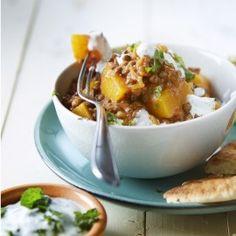 Pompoencurry met linzen, yoghurt en munt