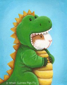 Omg so cute! Guineasaurus Rex! Guinea Pig in a Dinosaur Costume Dinopeeg by WhenGuineaPigsFly