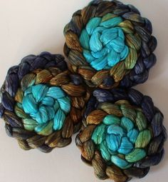 Roving for spinning  50/50 hand dyed silk merino by FiberArtemis, $17.28